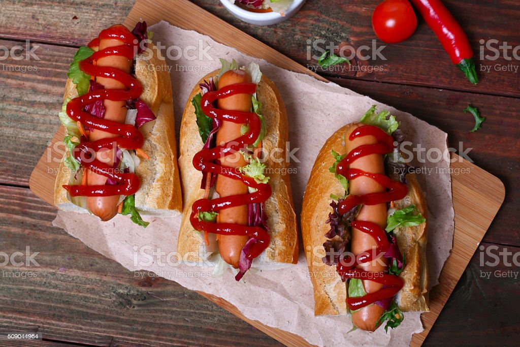home made Hot dog - sandwich with lettuce stock photo