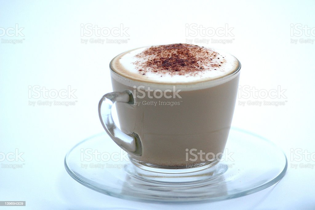 Home made latte in clear glass, cup and saucer 4 royalty-free stock photo