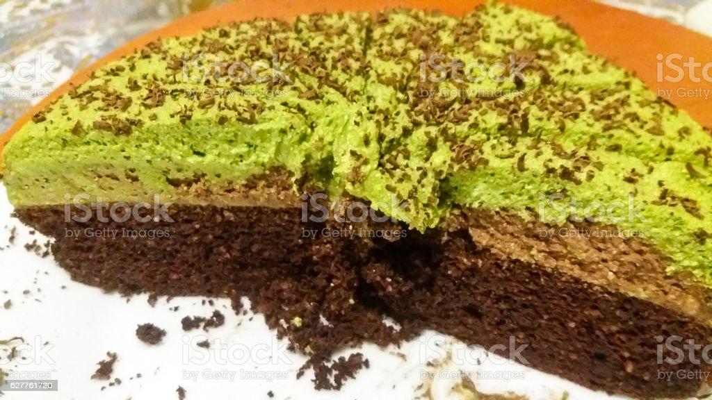 Home Made Matcha Cake stock photo