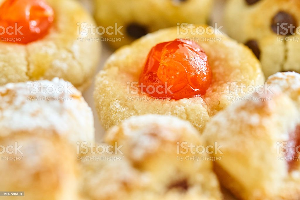 Home made panellets in assorted tray stock photo