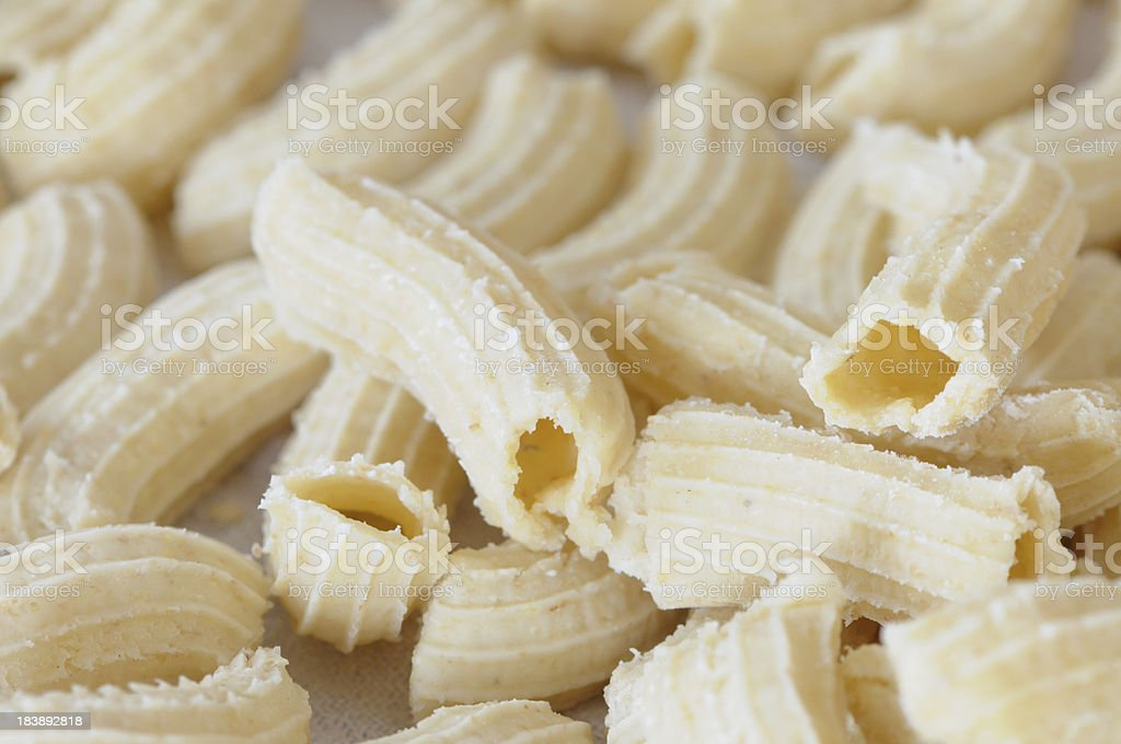 Home made Penne pasta stock photo