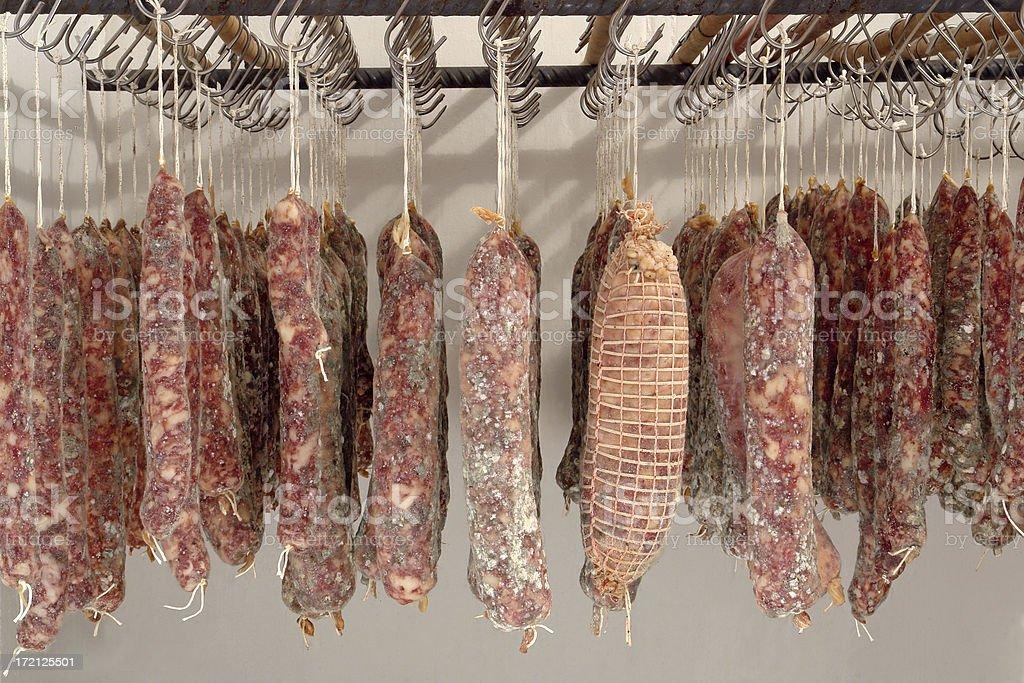 Home made salami stock photo
