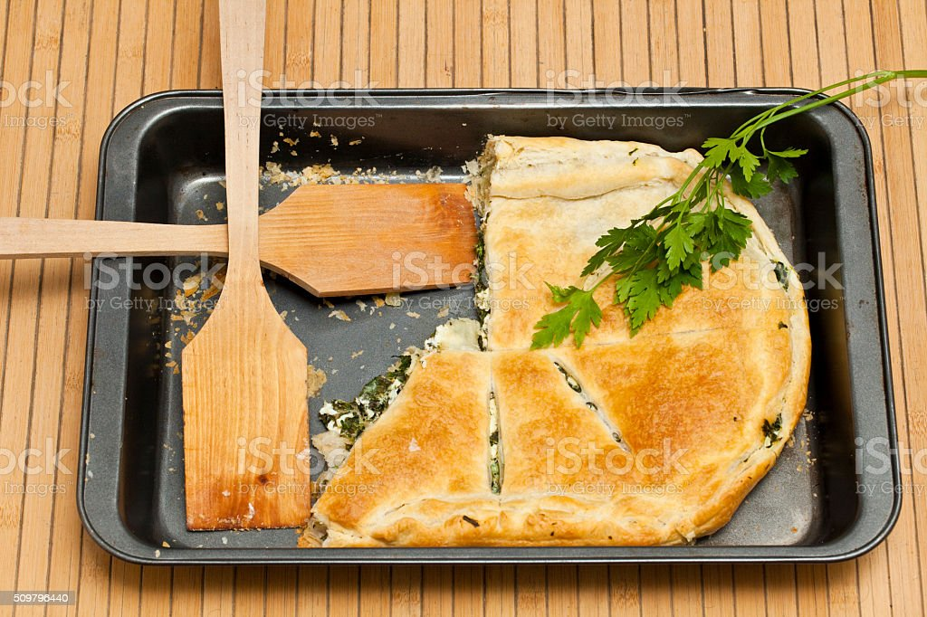 Home made 'Spanakopita' stock photo