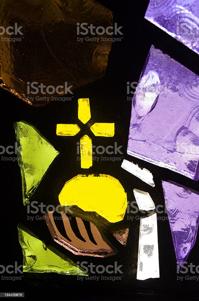 Home Made Stained Glass Depiction royalty-free stock photo