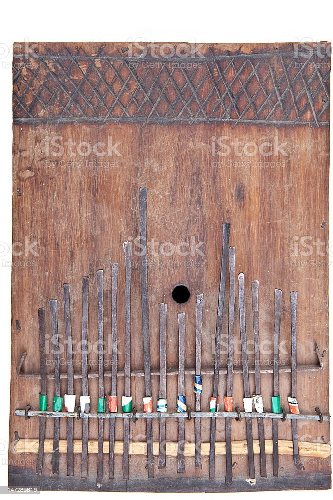 XXXL Home Made Wooden Kalimba, African Thumb Piano Isolated Background stock photo