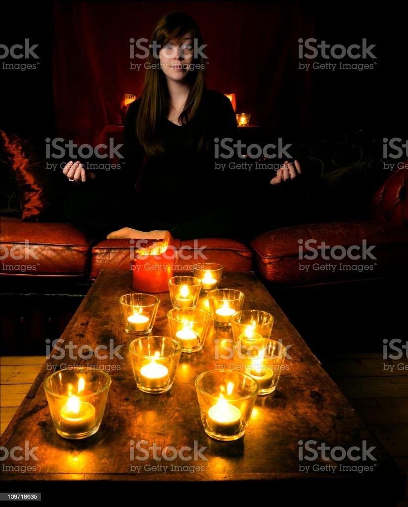 Home Meditation stock photo
