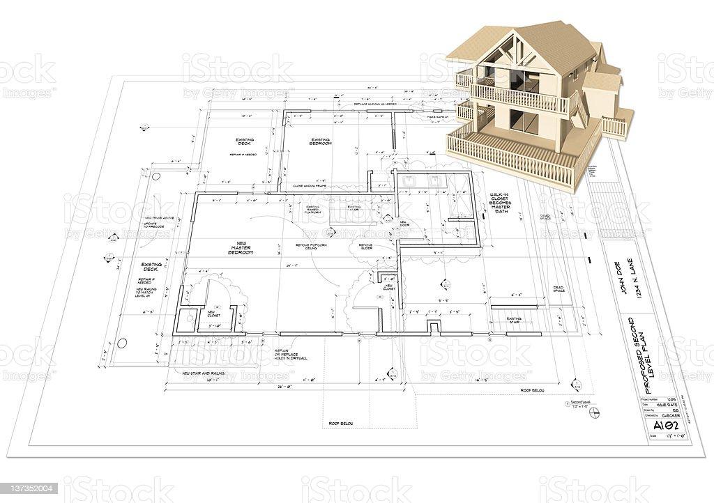 Home Model on Blueprint Plan stock photo