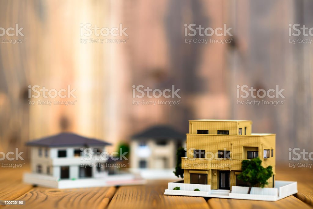 home model on the wood stock photo