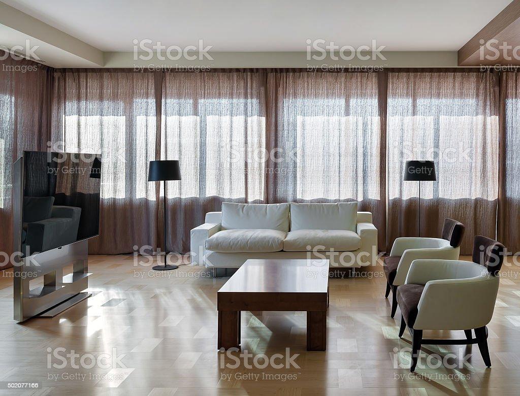 Home modern theater interior with big windows stock photo