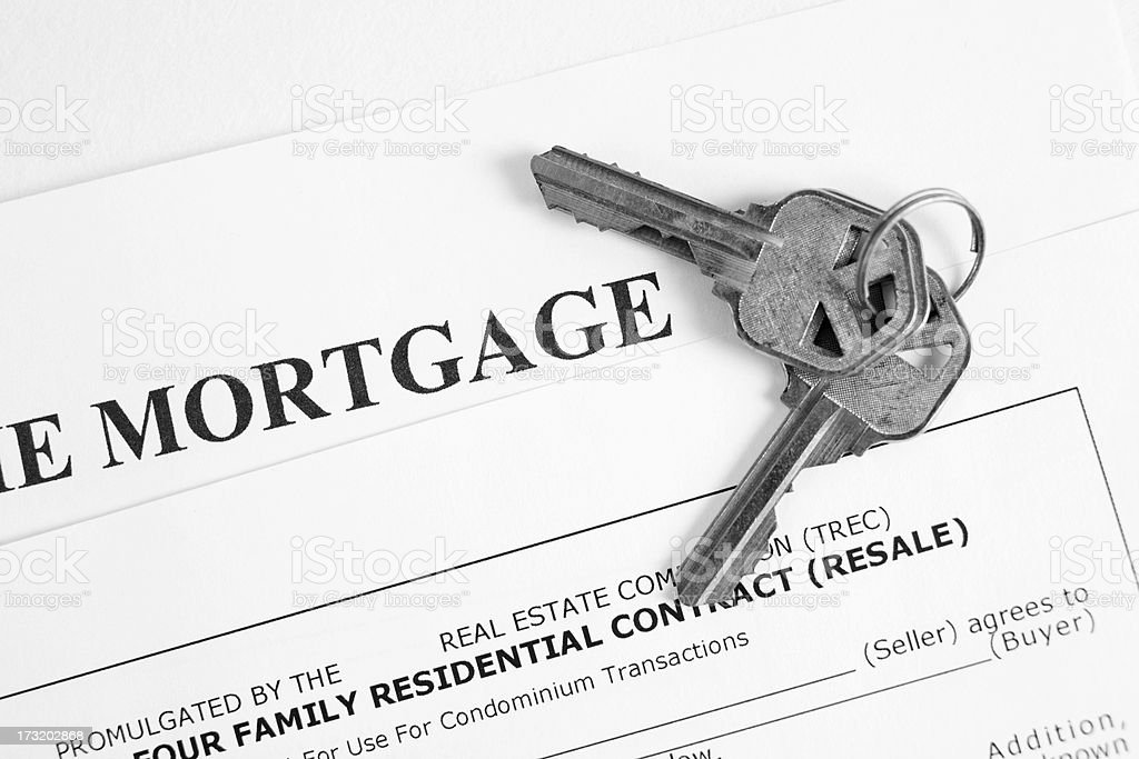 Home Mortgage loan papers with house keys royalty-free stock photo