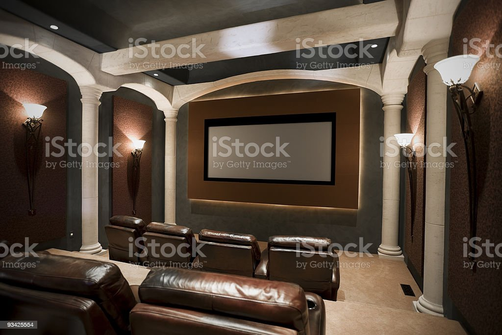 home movie theater stock photo