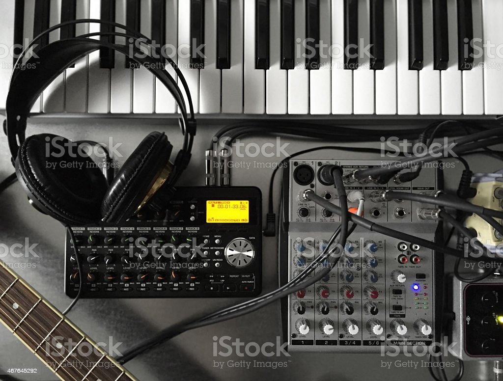 Home Music Studio Instruments and Recording Equipment stock photo