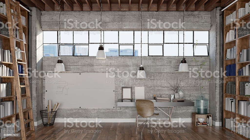 Home office and libary stock photo