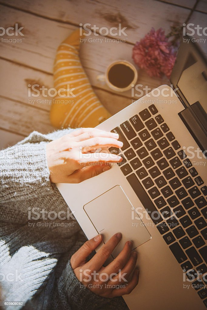Home office concept: girl working at home stock photo