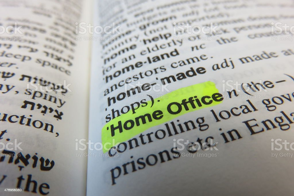 Home Office, Dictionary definition stock photo