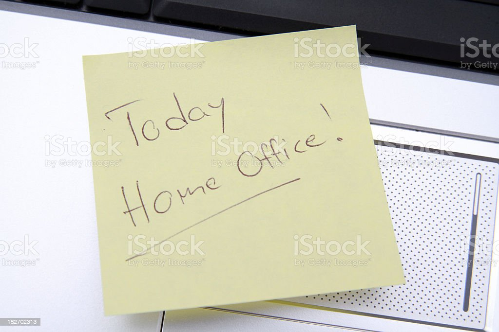 Home Office note on a yellow memo stock photo