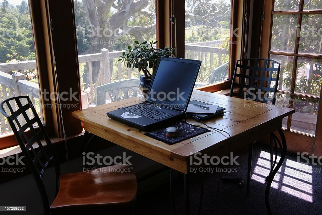 Home Office With A View. No One. royalty-free stock photo