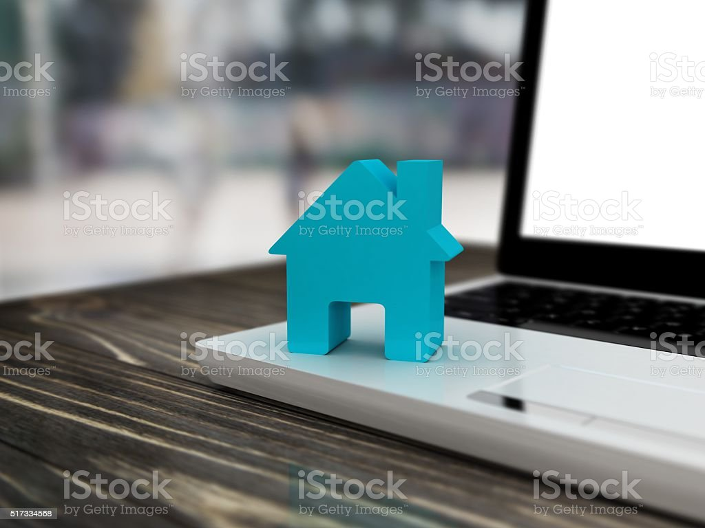 Home on computer keyboard background. Blur background stock photo