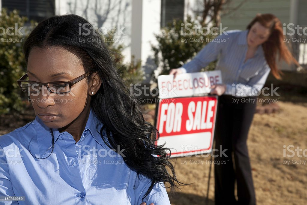 Home Owner Upset over house listing as foreclosure royalty-free stock photo