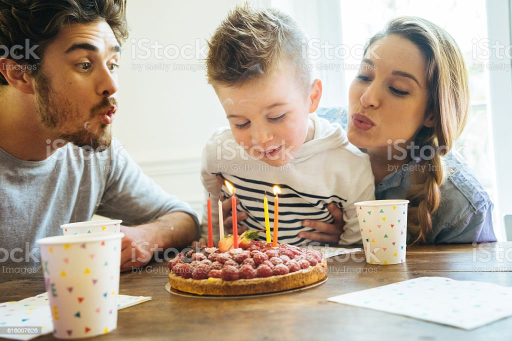 Home Party With Family For Little Boy's Birthday stock photo