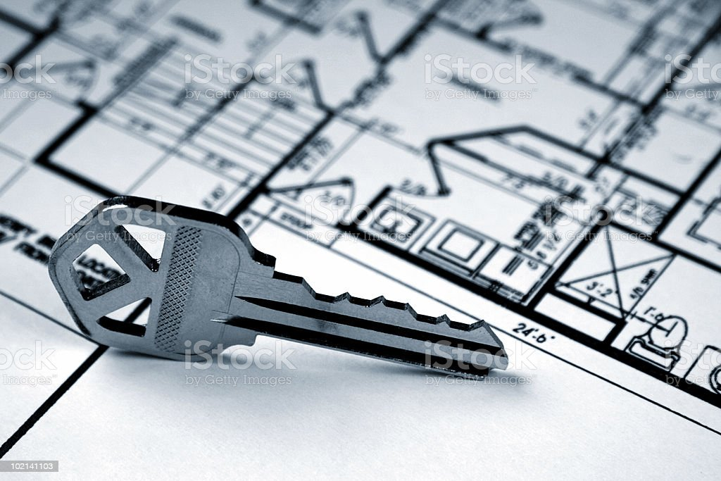 Home plan series stock photo