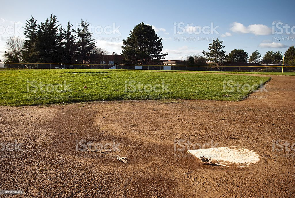 Home plate and baseball diamond royalty-free stock photo