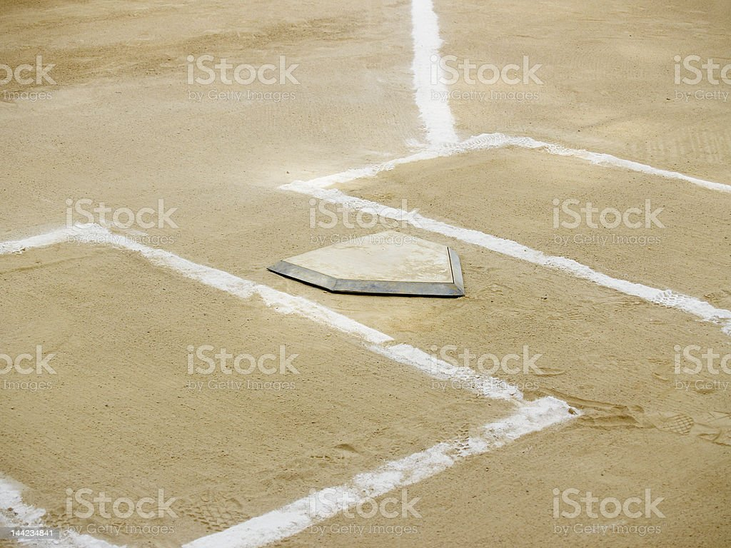 Home plate and batter's boxes stock photo
