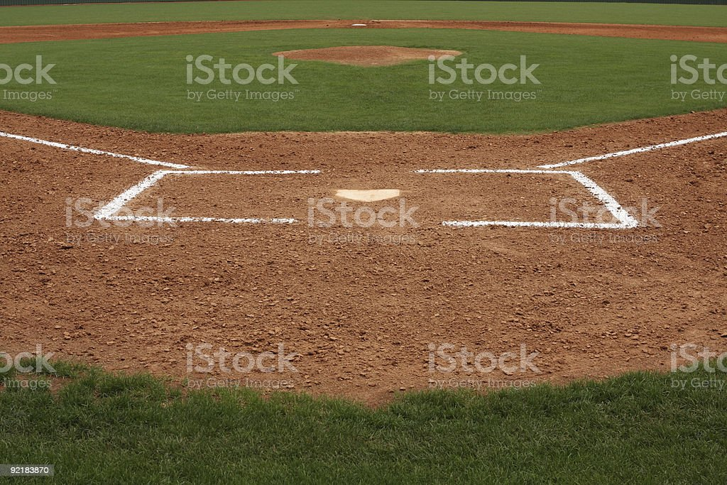 Home Plate and Infield of a Baseball Field stock photo