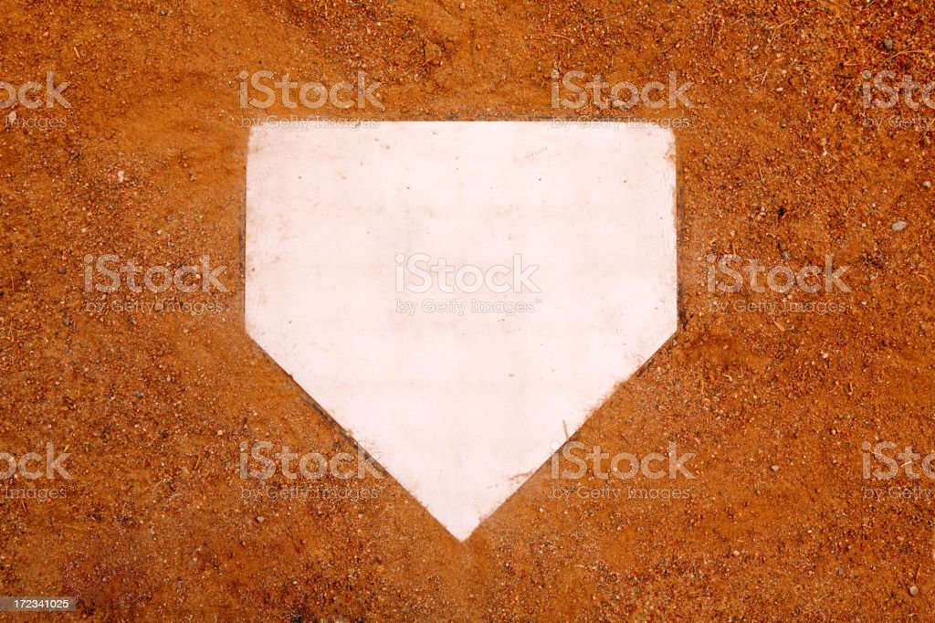 Home plate in baseball on sand stock photo