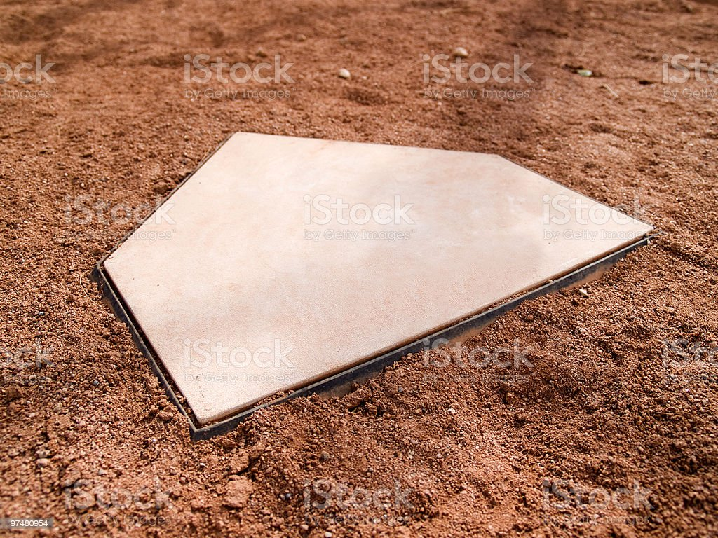 Home plate on a baseball diamond with copy space royalty-free stock photo