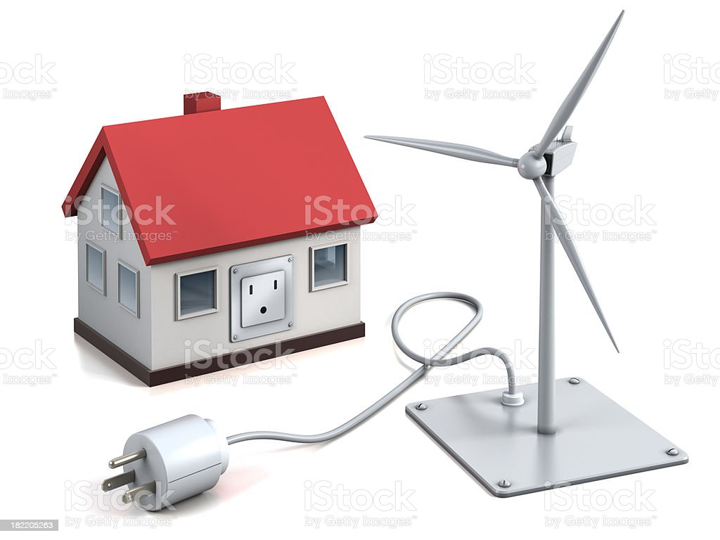 'Home ready for wind power, isolated with clipping path' stock photo