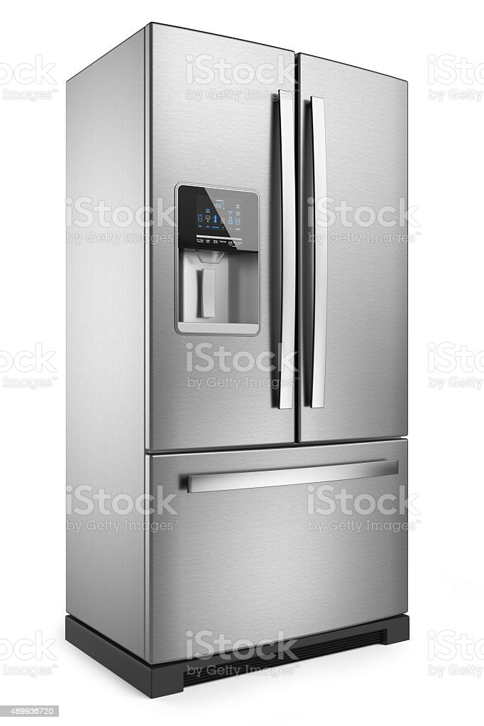 Home refrigerator. Silver home fridge stock photo