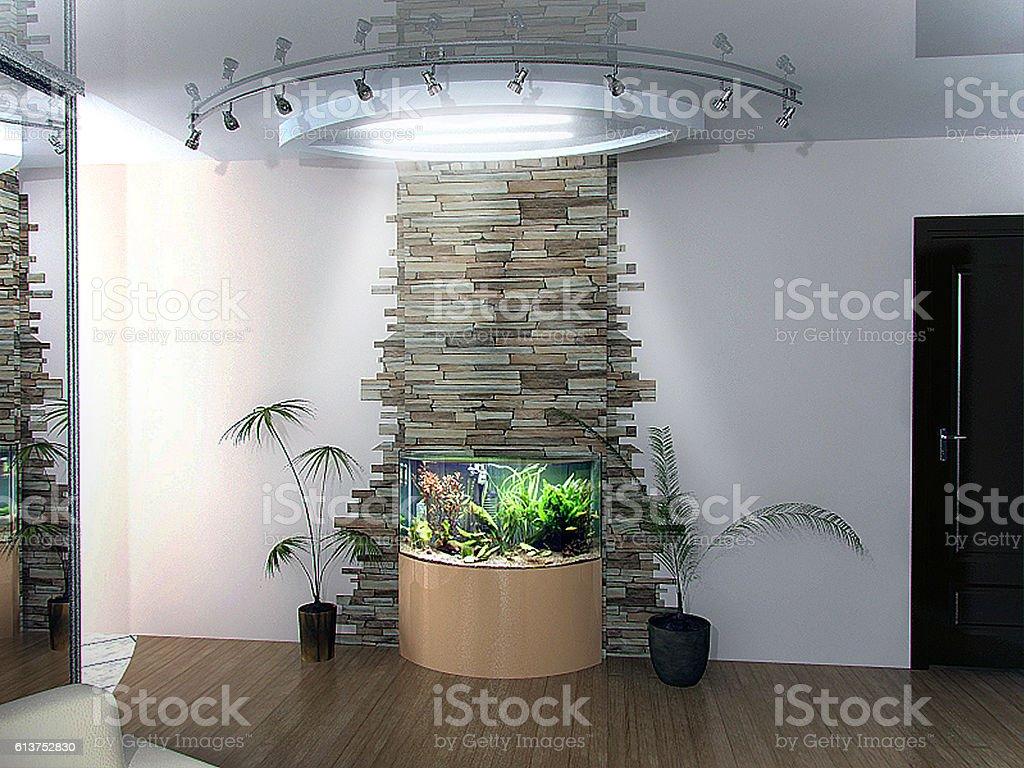 Home relaxing nook, 3d render stock photo