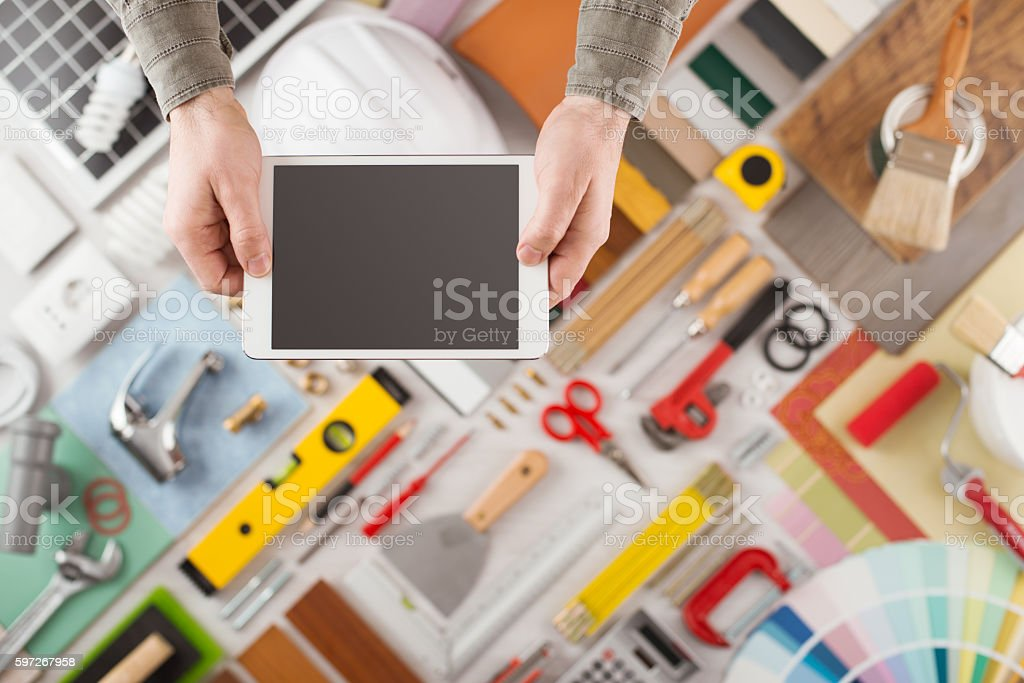 Home renovation and DIY app on mobile device stock photo
