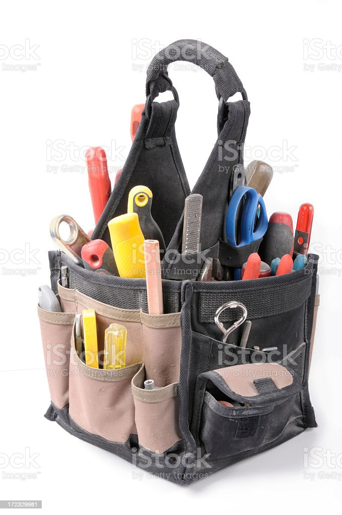 Home Renovation - Bag filled with construction hand tools royalty-free stock photo