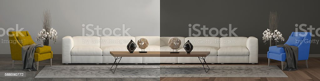 Home renovation concept comparison stock photo