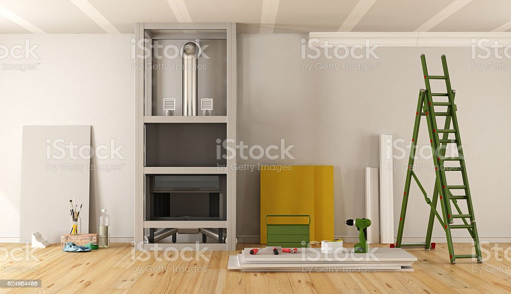 Home renovation with fireplace stock photo