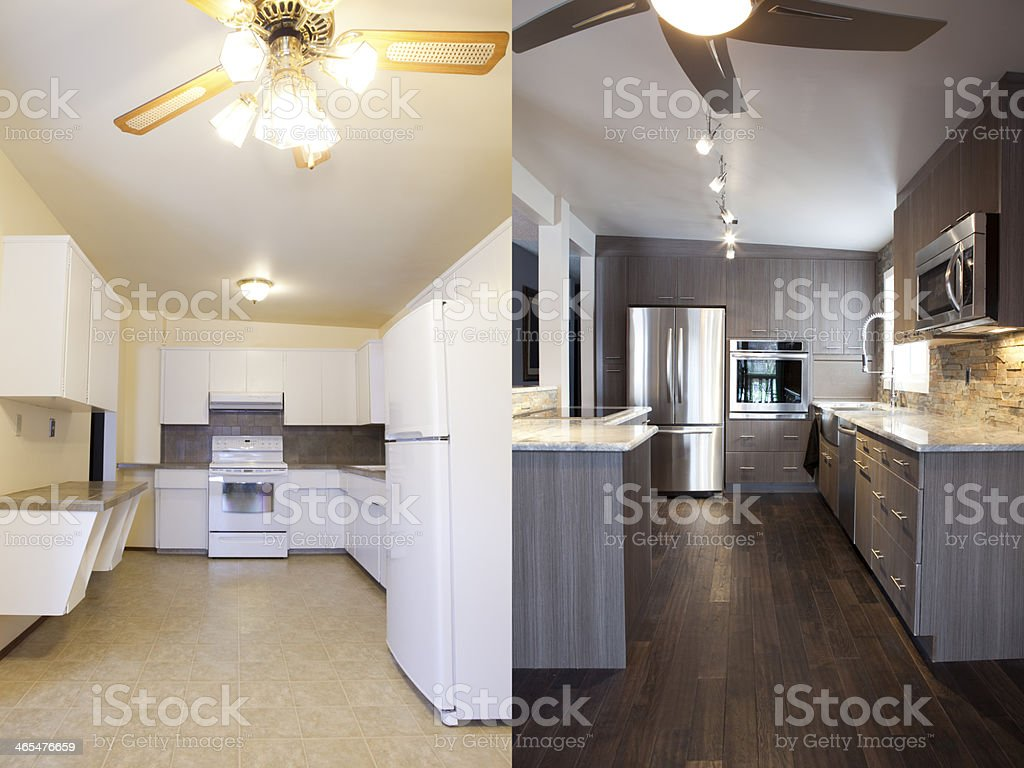 Home Renovations Kitchen Before and After stock photo