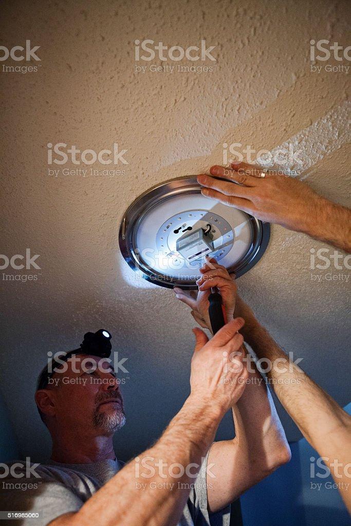 Home Renovations - LED Lighting Installation stock photo