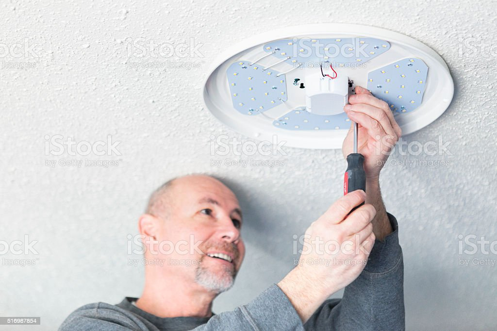 Home Renovations - LED Lighting Installation stock photo
