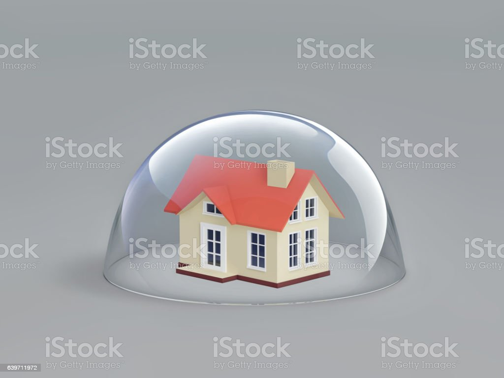 Home safety. House under glass dome stock photo