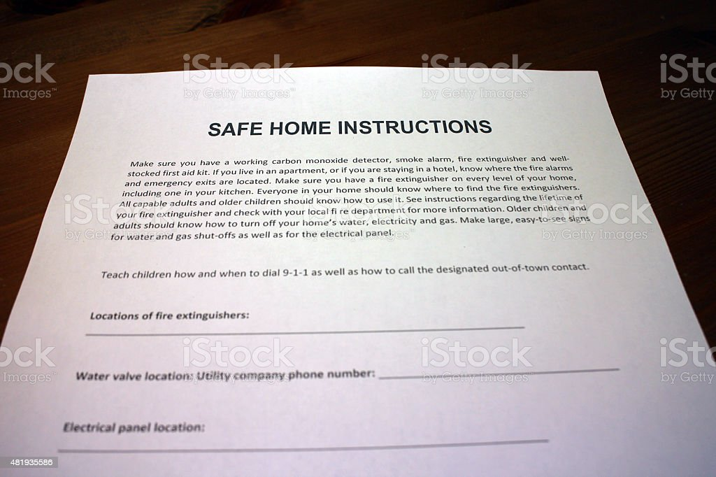 Home Safety Instructions stock photo