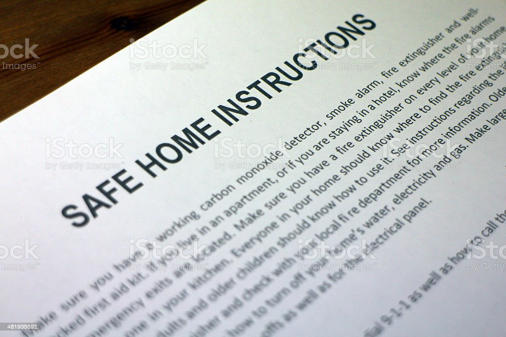 Home Safety Procedures and Instructions stock photo