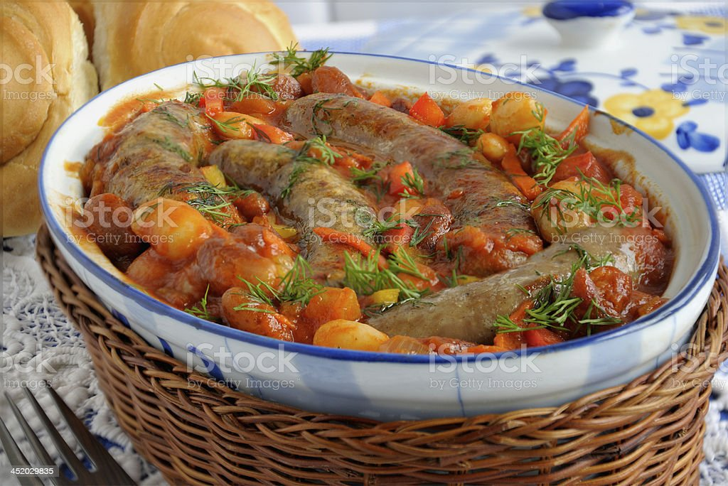 Home sausages with beans stock photo