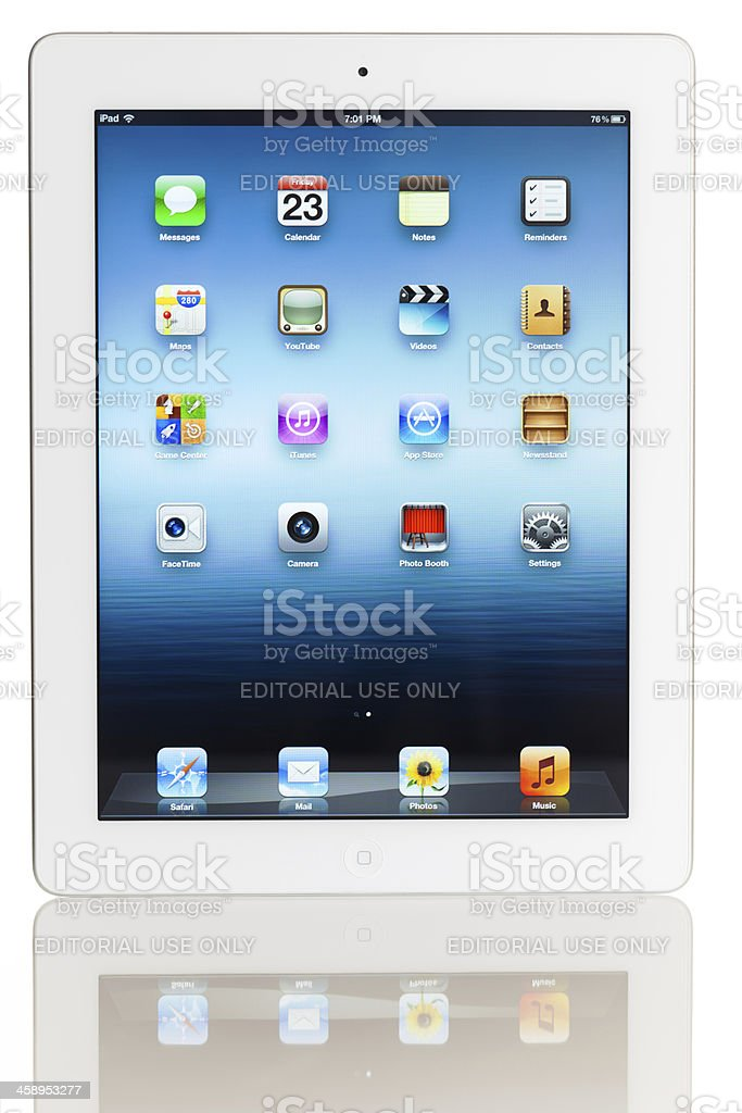 Home screen of iPad 3 stock photo