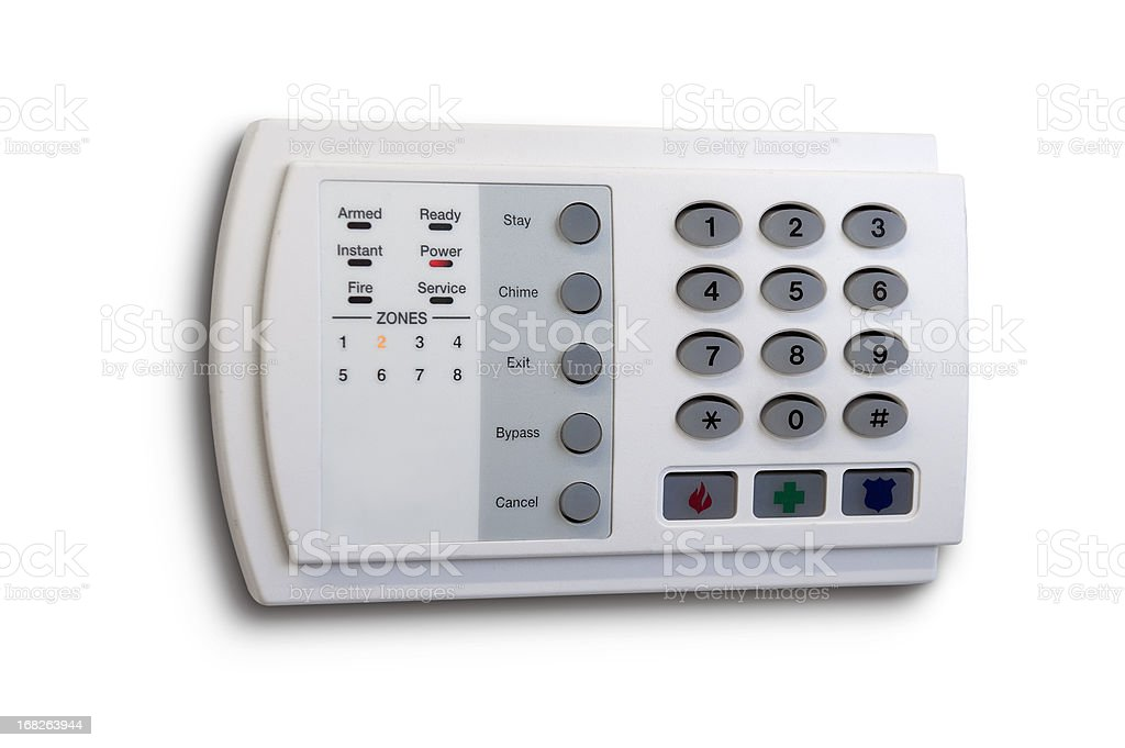 Home security system isolated on white stock photo