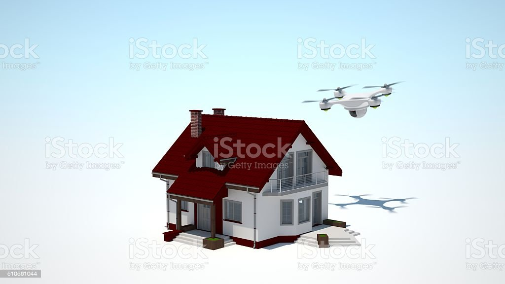 Home Security with Drone. stock photo
