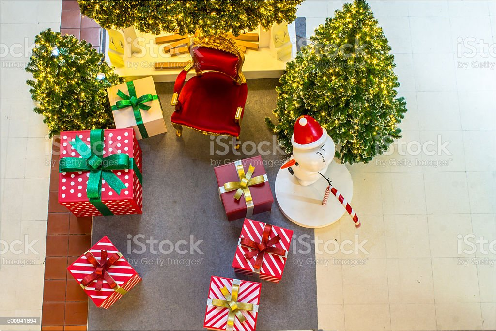 Home Showcase Interior, CHRistmas Decoration on living space. stock photo