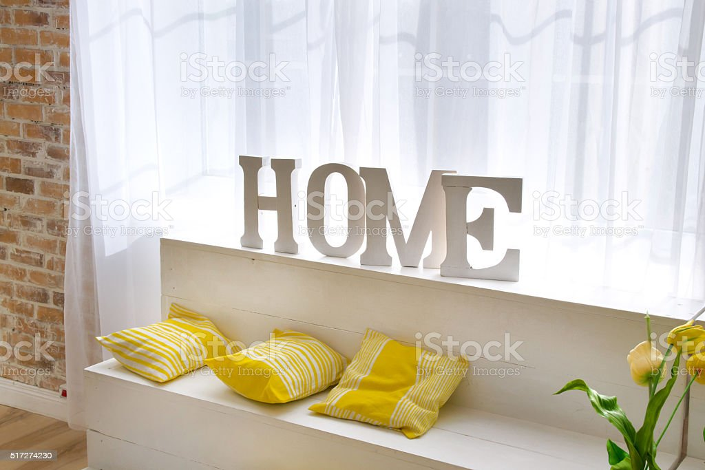 Home sign letters in interior stock photo