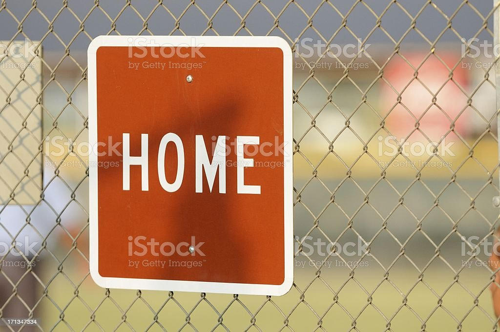 Home sign on dugout royalty-free stock photo